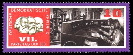 10 Pf Briefmarke: VII. Parteitag der SED