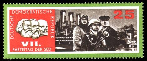 25 Pf Briefmarke: VII. Parteitag der SED