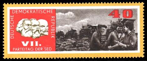 40 Pf Briefmarke: VII. Parteitag der SED