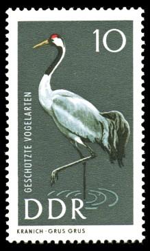 10 Pf Briefmarke: Geschützte Vogelarten, Kranich