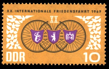 10 Pf Briefmarke: 20. Internationale Friedensfahrt