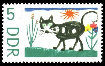 5 Pf Briefmarke: Kinderzeichnungen, Katze