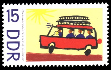 15 Pf Briefmarke: Kinderzeichnungen, Feuerwehr
