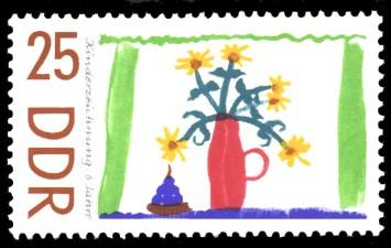 25 Pf Briefmarke: Kinderzeichnungen, Blumen