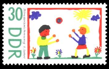 30 Pf Briefmarke: Kinderzeichnungen, Kinder