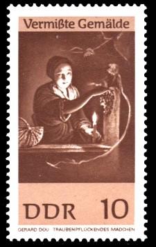 10 Pf Briefmarke: Vermißte Gemälde, Traubenpflückendes Mädchen