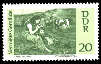 20 Pf Briefmarke: Vermißte Gemälde, Frühlingsidyll