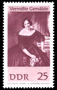 25 Pf Briefmarke: Vermißte Gemälde, Bildnis W.Schroeder-Devrient