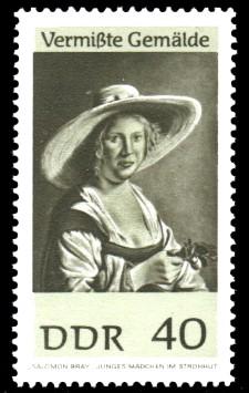 40 Pf Briefmarke: Vermißte Gemälde, Junges Mädchen im Strohhut