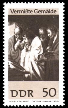 50 Pf Briefmarke: Vermißte Gemälde, Die vier Evangelisten