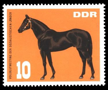 10 Pf Briefmarke: Vollblutmeeting der sozialistischen Länder