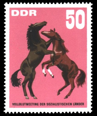 50 Pf Briefmarke: Vollblutmeeting der sozialistischen Länder