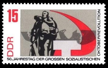 15 Pf Briefmarke: 50 Jahre Oktoberrevolution