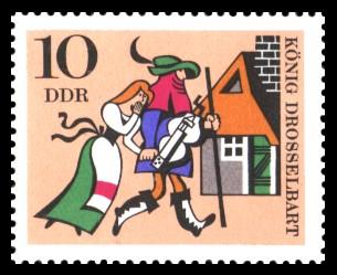 10 Pf Briefmarke: Deutsche Märchen, König Drosselbart