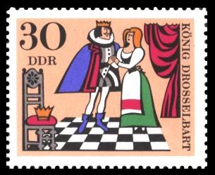 30 Pf Briefmarke: Deutsche Märchen, König Drosselbart