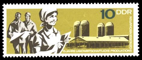 10 Pf Briefmarke: 15 Jahre LPG