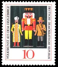 10 Pf Briefmarke: Volkskunst aus dem Erzgebirge