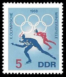 5 Pf Briefmarke: X. Olympische Winterspiele 1968, Eisschnellauf