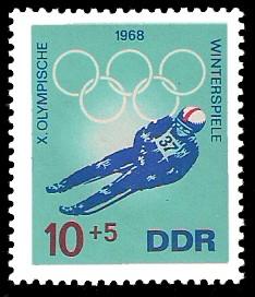 10 + 5 Pf Briefmarke: X. Olympische Winterspiele 1968, Rennrodeln