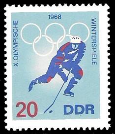 20 Pf Briefmarke: X. Olympische Winterspiele 1968, Eishockey