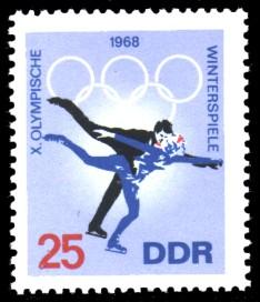 25 Pf Briefmarke: X. Olympische Winterspiele 1968, Eiskunstlauf