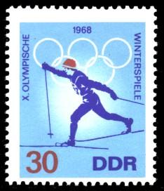 30 Pf Briefmarke: X. Olympische Winterspiele 1968, Skilanglauf