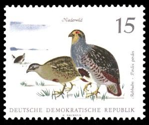15 Pf Briefmarke: Niederwild, Rebhuhn