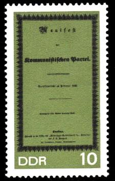 10 Pf Briefmarke: 150. Geburtstag Karl Marx
