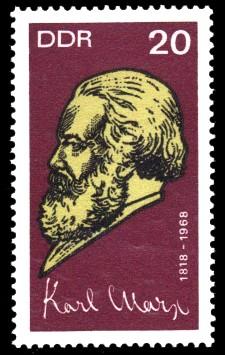 20 Pf Briefmarke: 150. Geburtstag Karl Marx