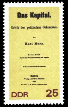 25 Pf Briefmarke: 150. Geburtstag Karl Marx