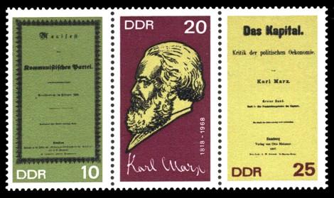 Briefmarke: Dreierstreifen - 150. Geburtstag Karl Marx