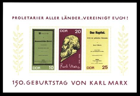 Briefmarke: Block - 150. Geburtstag Karl Marx