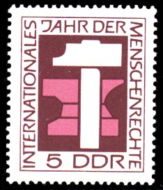 5 Pf Briefmarke: Internationales Jahr der Menschenrechte