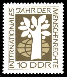 10 Pf Briefmarke: Internationales Jahr der Menschenrechte