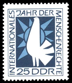 25 Pf Briefmarke: Internationales Jahr der Menschenrechte