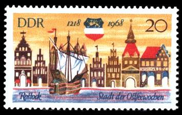 20 Pf Briefmarke: 750 Jahre Rostock, Stadt der Ostseewochen