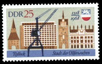 25 Pf Briefmarke: 750 Jahre Rostock, Stadt der Ostseewochen