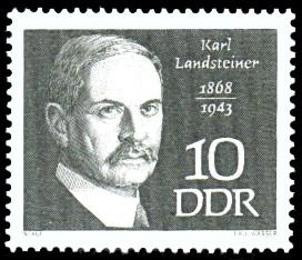 10 Pf Briefmarke: Bedeutende Persönlichkeiten, Karl Landsteiner