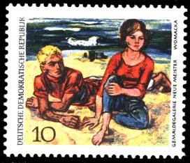 10 Pf Briefmarke: Dresdner Gemäldegalerie, Paar am Strand