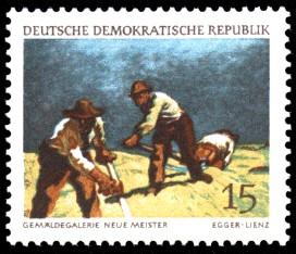 15 Pf Briefmarke: Dresdner Gemäldegalerie, Mähende Bergbauern