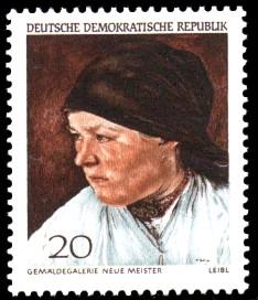 20 Pf Briefmarke: Dresdner Gemäldegalerie, Kopf einer Bäuerin
