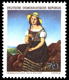 70 Pf Briefmarke: Dresdner Gemäldegalerie, Mädchen mit Gitarre