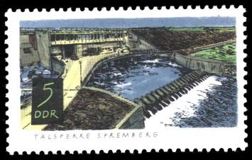5 Pf Briefmarke: Talsperren der DDR, Spremberg