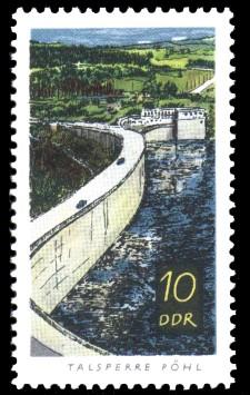 10 Pf Briefmarke: Talsperren der DDR, Pöhl