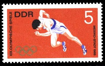 5 Pf Briefmarke: XIX. Olympische Sommerspiele, Kurzstreckenlauf