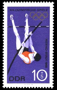 10 + 5 Pf Briefmarke: XIX. Olympische Sommerspiele, Stabhochsprung