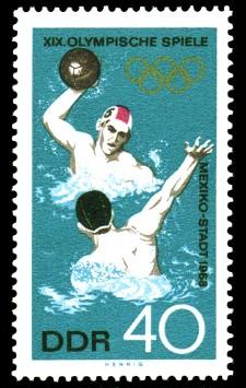 40 Pf Briefmarke: XIX. Olympische Sommerspiele, Wasserball