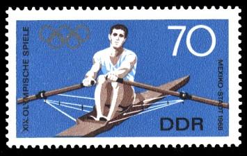 70 Pf Briefmarke: XIX. Olympische Sommerspiele, Rudern
