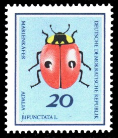20 Pf Briefmarke: Nützliche Käfer, Marienkäfer