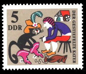 5 Pf Briefmarke: Märchen Der gestiefelte Kater